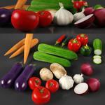 Fruits, Tomato, garlic, onion, etc..