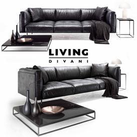 Divanci  Living divani leather rod sofa