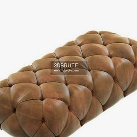 Restoration Hardware Soho Tufted Leather Ottoman 22 - 3dsmax - Vray or Corona