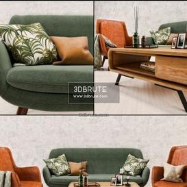 Mid Century Sofa and  set