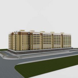 Residential ten-storey house 3dmodel 3dsmax