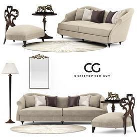 set Christopher Guy Sofa 131 3dmodel 3dbrute