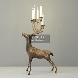 Oversize Brass Deer Candle Holder Floor lamp 173 3dmodel  3dsmax vray