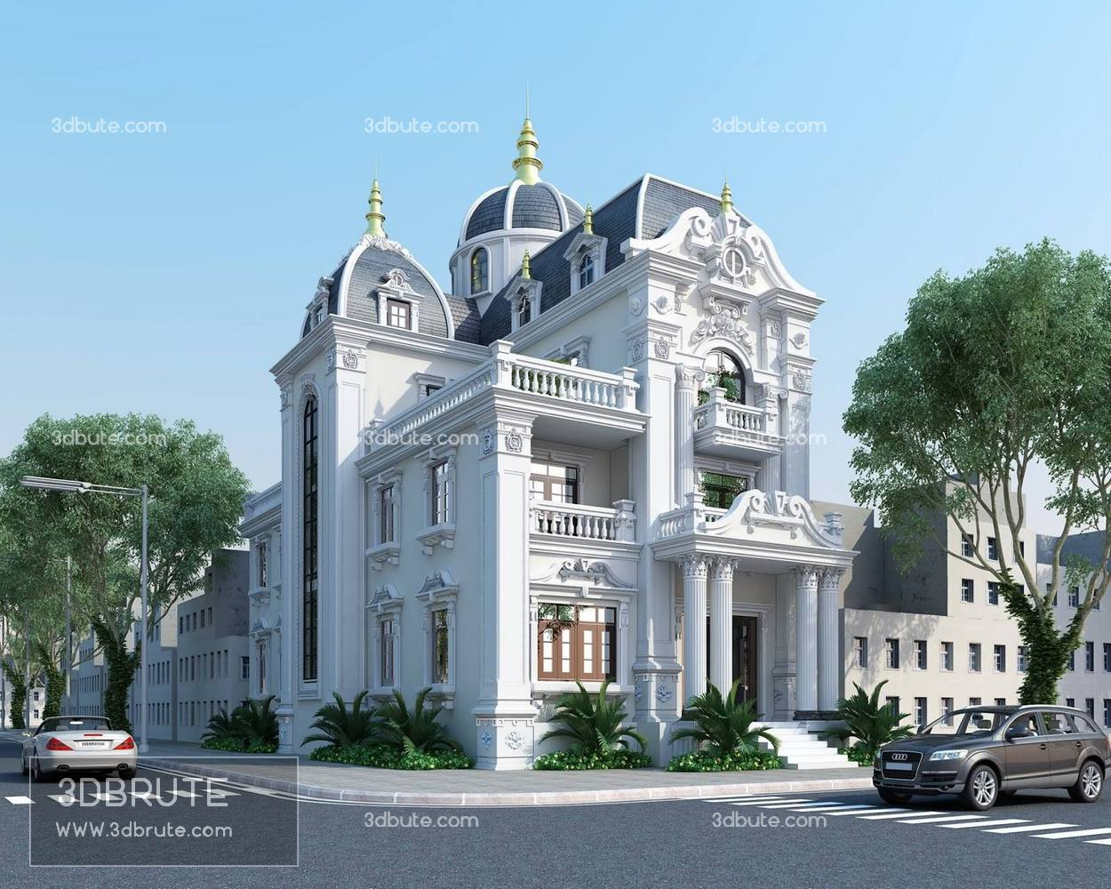 Villa classic 3dsmax download free nice exterior download free