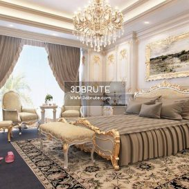 Bedroom classic 3dsmax 3dmodel download free Saudi Arabic