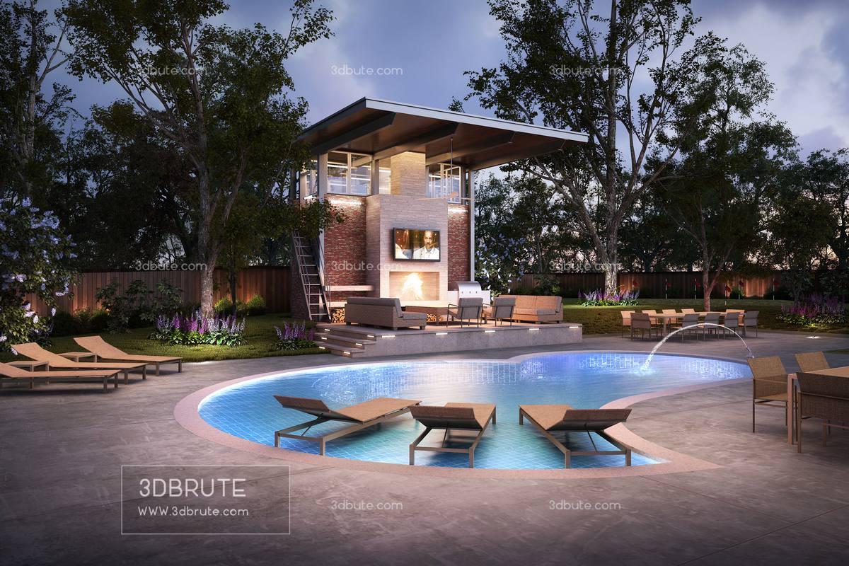 Cabana outdoor resort 3dmodel 3dsmax download free