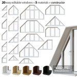 Set of trapezoidal windows