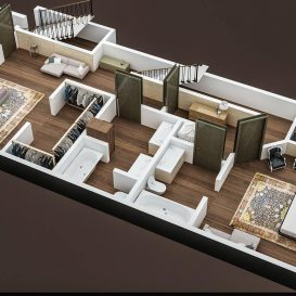 3D FLOOR PLAN OF APPARTMENT BUILDING FIRST FLOOR