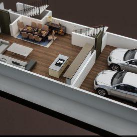 3D FLOOR PLAN OF APPARTMENT BUILDING GROUND FLOOR
