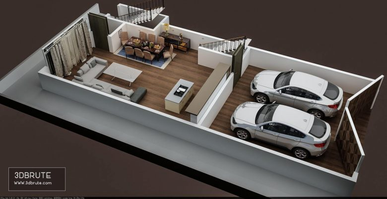 3D FLOOR PLAN OF APPARTMENT BUILDING GROUND FLOOR