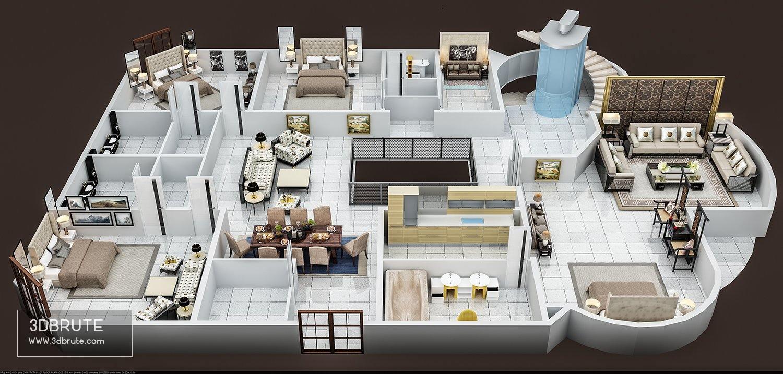 3d Floor Plan Of First Floor Download 3d Models Free 3dbrute