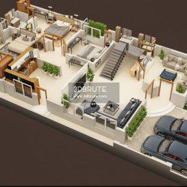 3D FLOOR PLAN OF LUXURY HOUSE 2
