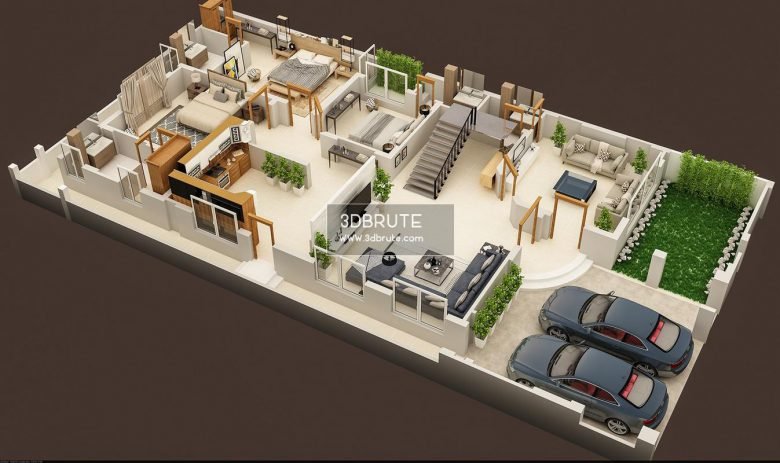 3D FLOOR PLAN OF LUXURY HOUSE 2
