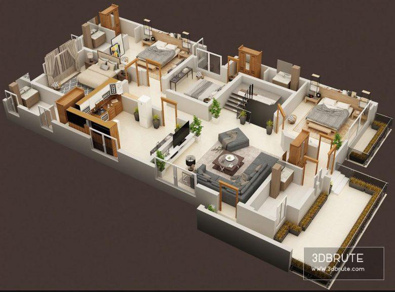 3D FLOOR PLAN OF LUXURY HOUSE FIRST FLOOR PLAN
