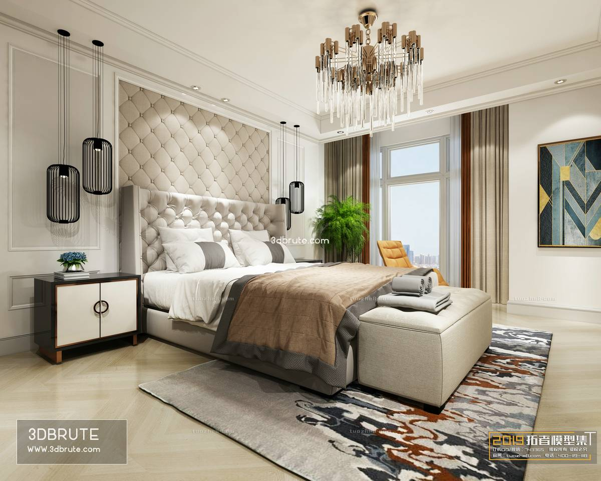 Sell Bedroom Nordic & Classic style 2019 3dmodel