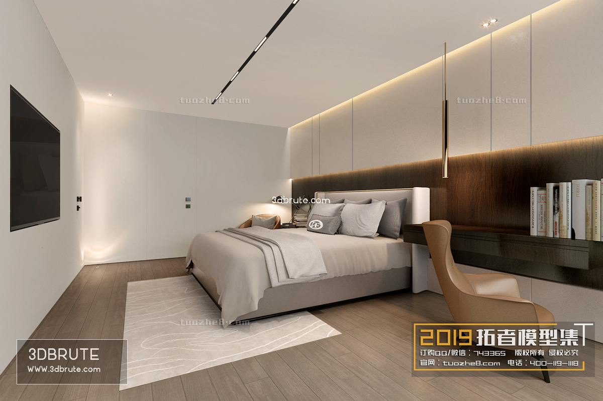 Sell Bedroom modern style 138 2019 3dmodel