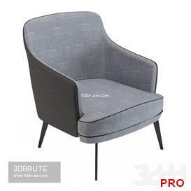 Anselme Lounge Armchair by Vauzelle 8 3d model Download 3dbrute
