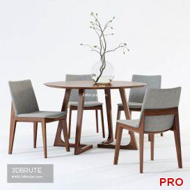 Scandinavian Designs Fuchsia Dining Chair & Cress Round Dining Table 64 3d model Download 3dbrute