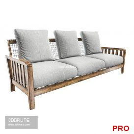 Sofa Synthesis in teak and WaProLace L 210 46 3d model Download 3dbrute