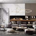 Modern sofa with decor wall