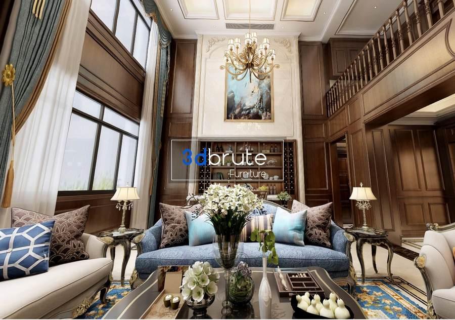 Living room and Mezzanine floor Scene classic 360 vray free