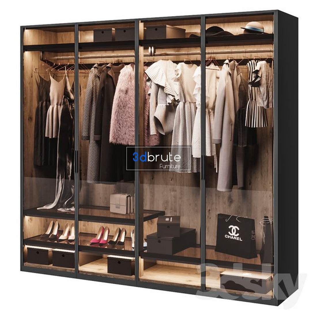 Poliform wardrobe 3dmodel - Buy and Download 3dsmax file -3dbrute