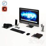 Workplace Space Gray IMac  3d model  Buy Download 3dbrute