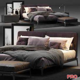 Poliform Park Uno Bed  3d model  Buy Download 3dbrute