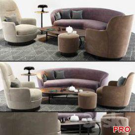 Minotti Sofa And Arm Chair Set  3d model  Buy Download 3dbrute