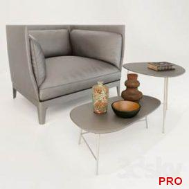 Armchair Alone Poltrona Frau + Coffee table Poltrona Frau SASSO  3d model  Buy Download 3dbrute