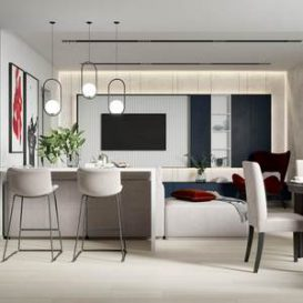 Modern foreign set of bright and simple home
