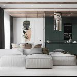 Vintage Dark Green 72m2 Elegant Fashion Apartment INNOI Design