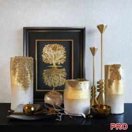 Decorative set: Noble gold 3d model Download  Buy 3dbrute