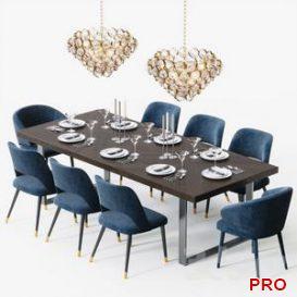 Eichholtz Dining Set 3d model Download  Buy 3dbrute
