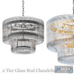 2 Tier Glass Rod Chandelier