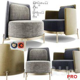 Minotti Tape Armchair Set 3d model Download  Buy 3dbrute