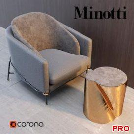 Armchair Minotti Fil Noir 3d model Download  Buy 3dbrute