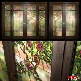 A set of two double doors with stained glass 3d model Download  Buy 3dbrute