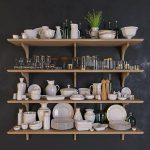 Shelves with dishes 3d model Download  Buy 3dbrute