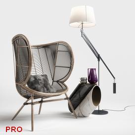 Greige Design Olaf Chair Set 3d model Download  Buy 3dbrute