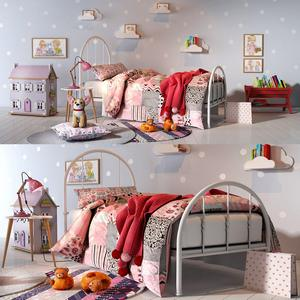 Girl bedroom set 01 3d model Download  Buy 3dbrute