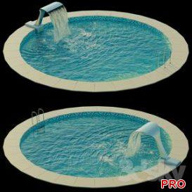 Swimming pool with waterfall 3d model Download  Buy 3dbrute
