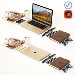 Workplace Gold MacBook 3d model Download  Buy 3dbrute