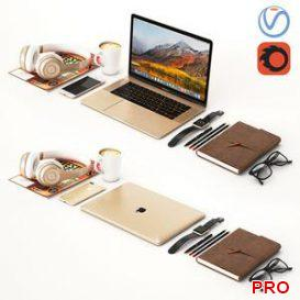 Workplace Gold MacBook 3d model Download  Buy 3dbrute
