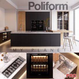 Kitchen Poliform Varenna My Planet 4  vray GGX corona PBR 3d model Download  Buy 3dbrute