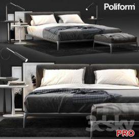 Poliform Park Bed 3d model Download  Buy 3dbrute
