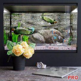 Decorative set with aquarium 3d model Download  Buy 3dbrute