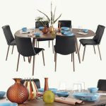 Walter Knoll Moualla Table and Liz Wood chair dining set