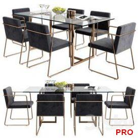 CB2 rouka chair  rectangular dining table 3d model Download  Buy 3dbrute