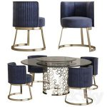 Longhi manfred table round crystal table